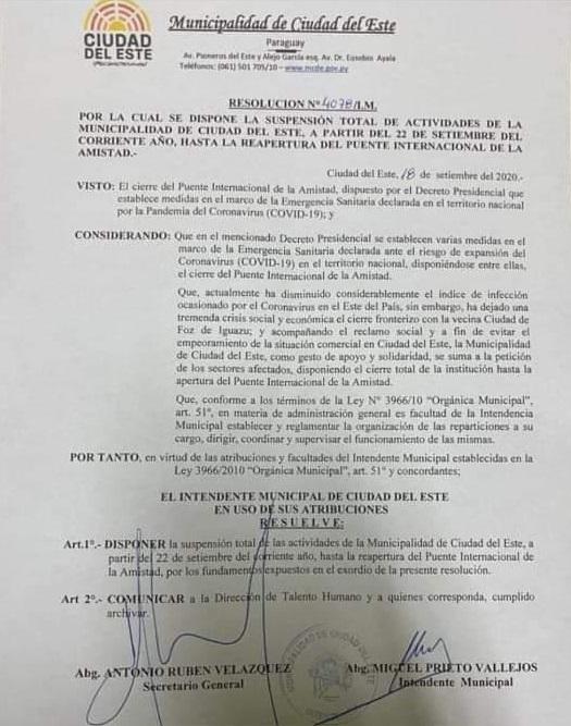 Decreto assinado pelo prefeito de Ciudad del Este.